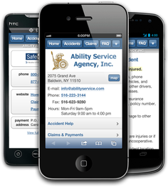 Mobile insurance website for Ability Service Agency, Inc. at m.abilityservice.com